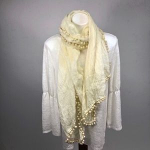 🔥natural life ivory cream scarf with puff balls
